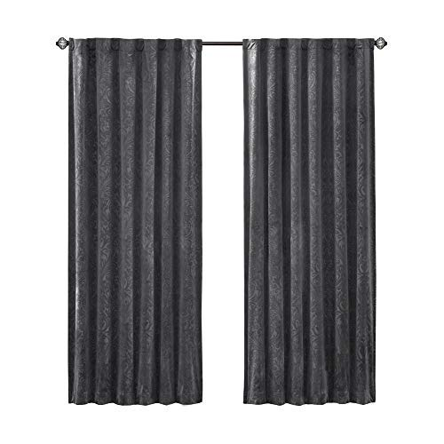 Comfort Spaces – Embossed Paisley Motif Poly Velvet Window Curtain Pair 4pc Set – Dark Grey – 50×95 Inch Panel – Energy Efficient Saving – Curtain Rod Pocket – Include 2 Panels and 2 Tiebacks Review