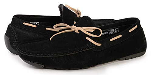 [2629-black-9] Men's Slip-On Moccasins Driving Shoes: Casual Loafers Boat Shoe