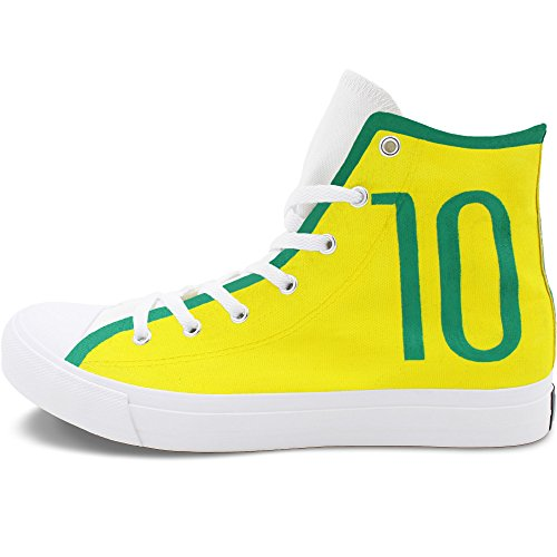 Paint By Number Canvas Ball - Wen Fire Design Hand Painted Brazilian Football Number 10 Canvas Unisex Sneakers White