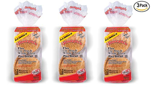 (3 Pack Joseph's Flax, Oat Bran and Whole Wheat Flour MINI Pita Bread (Low)