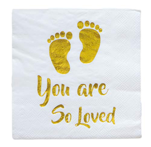 (100 Baby Shower Beverage Disposable Napkin 3 Ply Gold Foil Footprint White Paper Cocktail Baptism Party for Neutral Gender Reveal Boy Girl You are So Loved 5 x 5 Inches Folded)