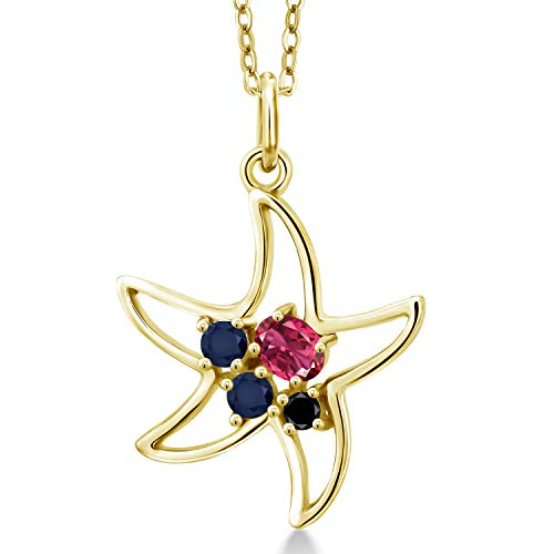 Gem Stone King 0.28 Ct Pink Tourmaline Blue Sapphire 18K Yellow Gold Plated Silver Starfish Starfish Necklace ()