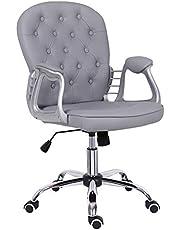 Grå skrivbordsstol, läder kontorsstol mellanrygg datorstol justerbar höjd bekväm vadderad svängbar stol, hem/kontorsmöbler