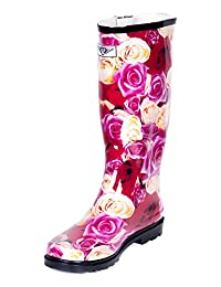 Women Bellow Knee Rubber Rain Boots - Rain & Garden Collection is Great For a Rainy Day or Garden Work