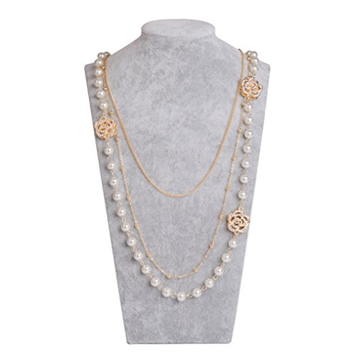 Chanel Charm Necklace (MISASHA Lady Imitation Pearl Camellia Charm Floral Necklace)