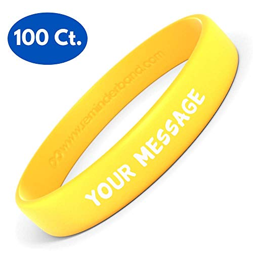 Reminderband Silicone Wristbands - 100 Pack - Personalized Rubber Bracelets - Customized, Events, Gifts, Support, Causes, Fundraisers, Awareness - Men, Women, -