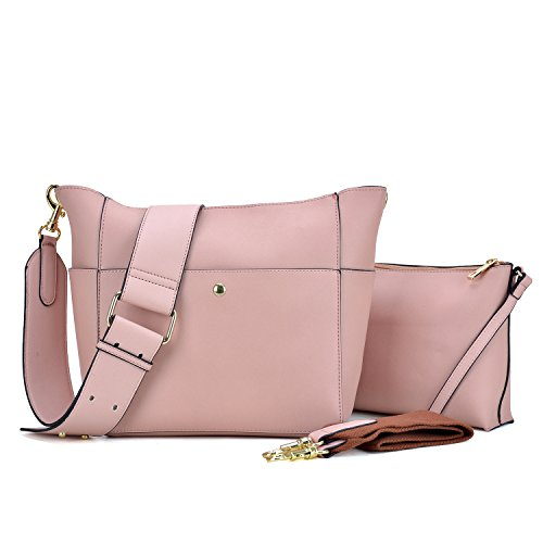 Vegan Matching Cosmetic pink Bag Hobo W Leather 1092 in Pouch Dasein 1 2 Bag Inner Shoulder Crossbody Messenger qOwtTq7