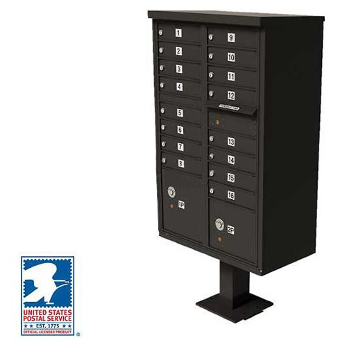 (Vital Cluster Box Unit, 16 Mailboxes, 2 Parcel Lockers, Dark Bronze)