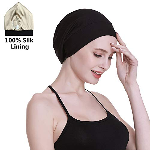- Satin Cap 100% Mulberry Silk Lined Sleeping Hats for Natural Hair Black