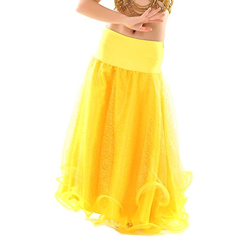[Dance Fairy Kids Belly Dance Mesh Skirt,Yellow] (Glamour Costumes 2016)