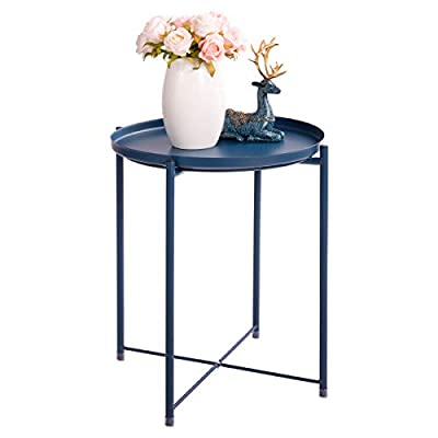 """HollyHOME Tray Metal End Table, Sofa Table Small Round Side Tables, Anti-Rust and Waterproof Outdoor & Indoor Snack Table, Accent Coffee Table,(H) 20.28"""" x(D) 16.38"""", Navy Blue - You can twist this transparent shim to adjust the table's height and stability. The wear-resistant coating of our scalloped coffee table can ensure the durability,and our plant stand table is based on Nordic Design Concept. Our circle end tables are the best choice for your homestorage,foldable structure ,firm steel construction and smooth desktop make your rooms look more fashionable. - living-room-furniture, living-room, end-tables - 41pi tFhCaL. SS400  -"""