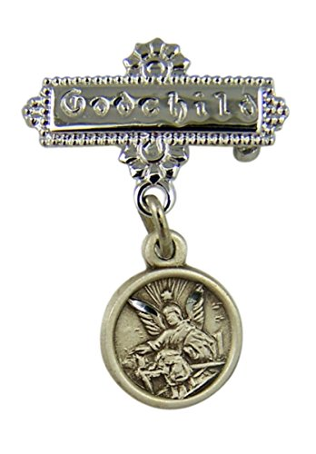 Sterling Silver Guardian Angel Medal Godchild Engraved Bar Pin, 1 Inch