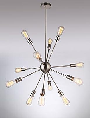 Deking 12 Lights Pendant Light Silver Modern Satellite Style Sputnik Chandelier for Residential Use Without Bulbs