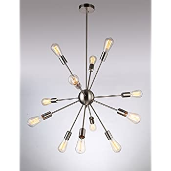 Sputnik Style Chandelier: Deking 12 Lights Pendant Light C-UL US Listed Silver Modern Satellite Style  Sputnik Chandelier Nickel Finish for Residential Use Without Bulbs,Lighting