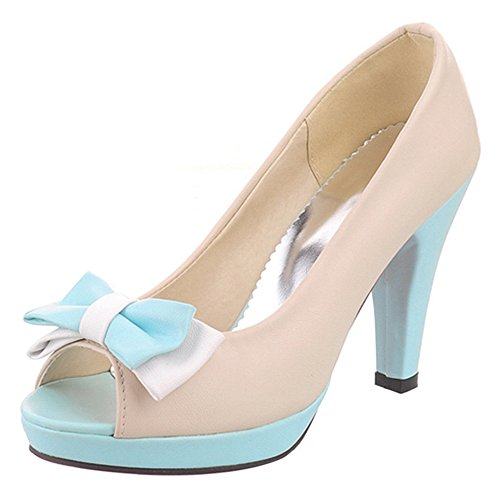 With Yellow Pumps Toe Women High Platform Heel Shoes Bowknot TAOFFEN Peep Sandals Elegant 1qB7wv