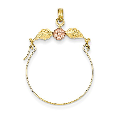 (14K Two-Tone Gold Leaves with Flower Charm Holder Pendant)