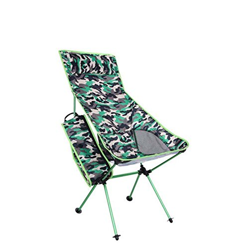 Camo Lounger - Onfly Outdoor Folding Beach Chair,Multifunctional Mountain Camping Leisure Chair,portable Aluminum Alloy Pillow Backrest Chair With Carry Bag,Camouflage Series Sun Loungers (Color : Green)