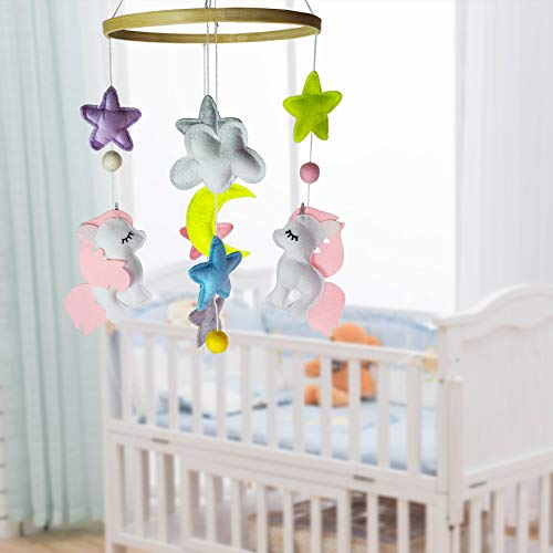 EsoulTechnology Baby Crib Mobiles Nursery Felt Decoration- Two Unicorn and Different Colored Stars for Boys Girls