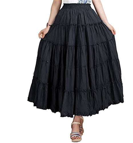 CoutureBridal Womens Elastic Tiered Boho Long Circle Broomstick Peasant Skirt Dance Black One Size]()