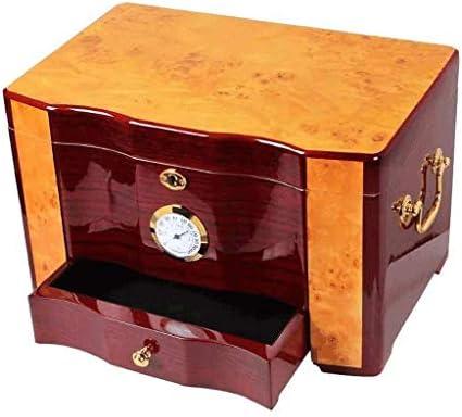湿度計をセット/シガーキャビネット喫煙や加湿器シーダーウッドハイグレード光沢ピアノはダブルストレージボックスは、100本の葉巻タバコ箱メンズギフトボックスミュートを保持できる大容量をペイント