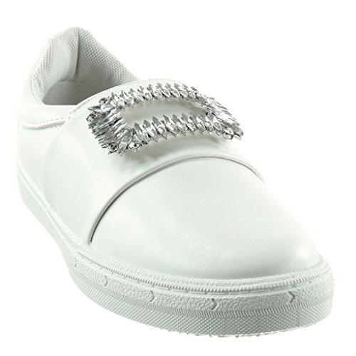 Angkorly - damen Schuhe Sneaker - Slip-On - Schmuck - Strass flache Ferse 2.5 CM Weiß