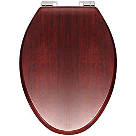 Rohl RS2880 Elongated Matte Finish Wooden Easy Close Decorative Toilet Seat