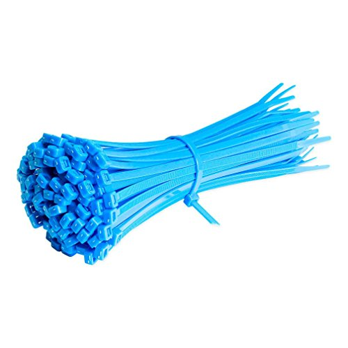 Liping 100PCS 7 8Inch/200mm Heavy Duty Nylon Cable Ties Zip Ties with 0 15  Inch/4mm Width, Indoor and Outdoor UV Resistant (Blue)