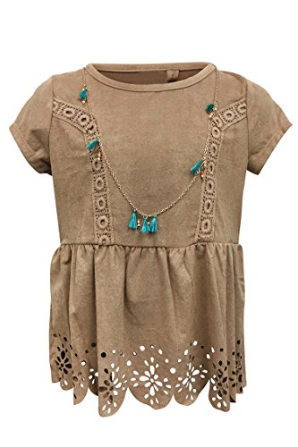 Grayson Shop Big Girls Faux Suede Die Cut Embroidered Top with Necklace Beige (Die Cut Top)