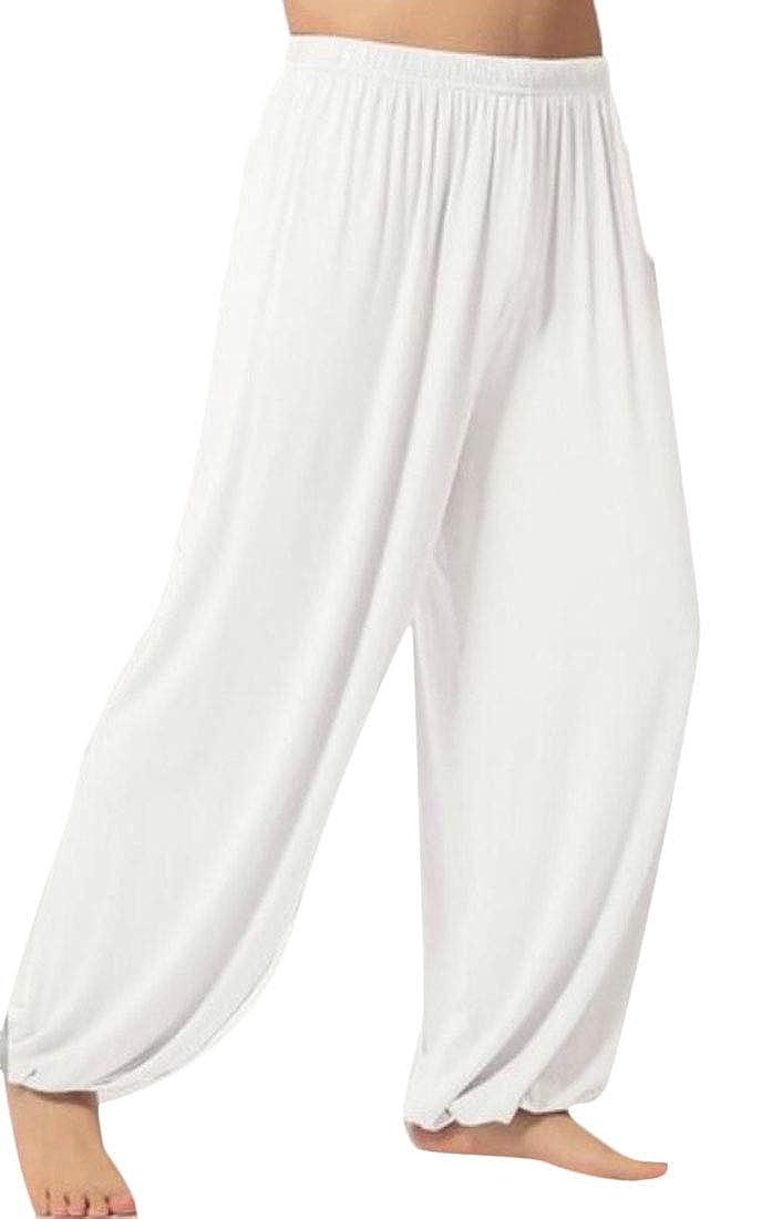 UNINUKOO Unko Men kung Fu Baggy Solid Elastic Bottom Running Yoga Sports Harem Pants
