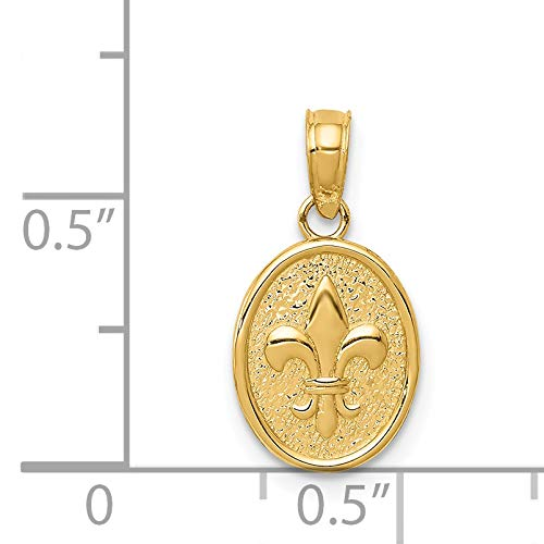 14k Yellow Gold Polished Small Fleur De Lis in Oval Claddagh Pendant ()