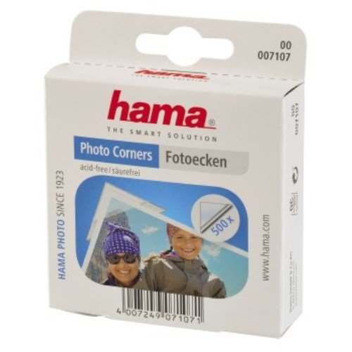 Hama Fotoecken (500 Stück, selbstklebend, praktische Spenderbox, säurefrei, lösemittelfrei, geeignet für Alben, archivierungssicher) transparent säurefrei lösemittelfrei geeignet für Alben 00007111