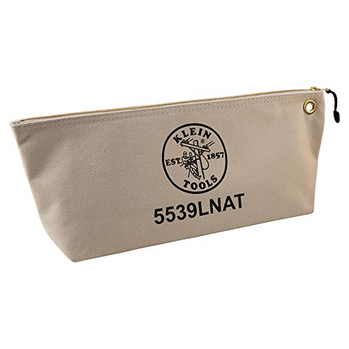 Klein Tools 5539LNAT Canvas Zipper Pouch, 16-Inch Tool Bag Storage Organizer, -