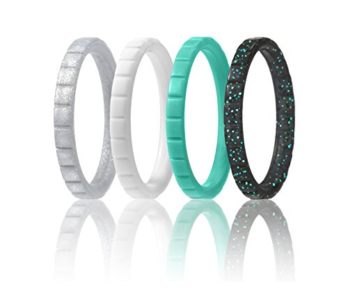 Silicone Wedding Ring For Women By ROQ, Set of 4 Thin Stackable Silicone Rubber Wedding Bands - Turquoise, White, Black with Turquoise Glitter, Silver - Size 8