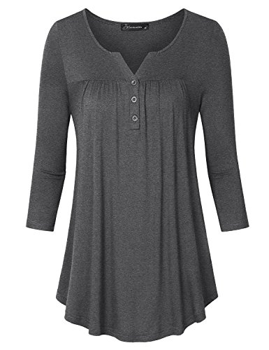 Womens Plus V-neck Shirt (Vinmatto Women's 3/4 Sleeve Henley V Neck Pleated Button Details Tunic Shirt(XXL,Deep Gray))