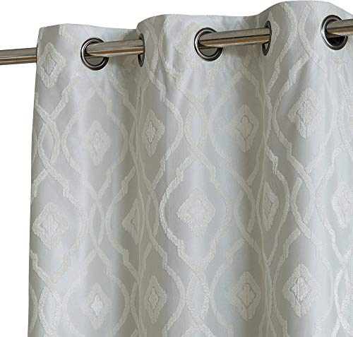 HLC.ME Trellis Flocked Velvet 100% Complete Full Blackout Thermal Insulated Energy Savings Window Curtain Grommet Panel for Sliding Glass Patio Doors, 1 Panel (100 x 84 inches Length, Ivory) (Door Sliding A Patio Build)