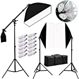 Hakutatz 2400w Photography Softbox Continuous Lighting Light Soft Box Boom Arm Stand Kit