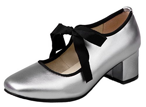 Toe Women's Square Pumps Closed Silver PU Lace Kitten WeenFashion Shoes Heels Solid up nYBwqIvdF