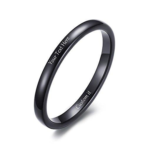 VNOX Free Custom Engraving-2mm Women's Tungsten Carbide Plain Thin Band Wedding Ring,Black,Size 7