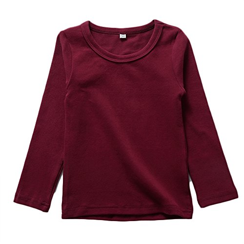 KISBINI Unisex Big Girls Long Sleeve 100% Cotton Tees Kids T-Shirt Wine Red 7T ()