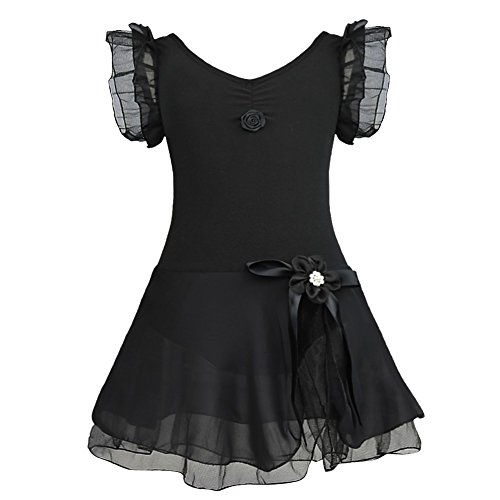Alvivi Girls' Fairy Ruffle Short Sleeve Gymnastic Dance Leotards with Tutu Skirt Costume Dresses Black 10-12