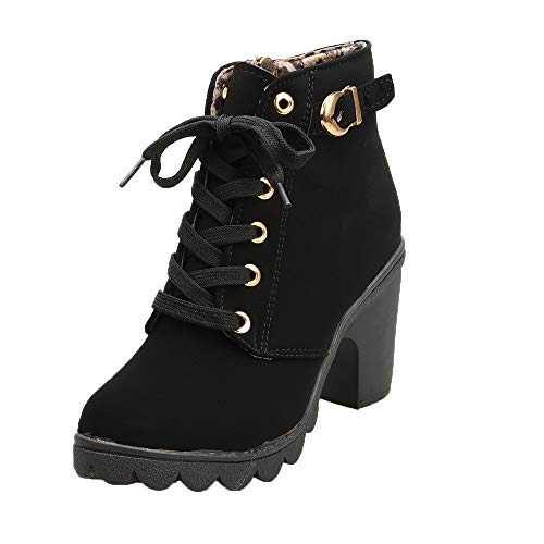 Womens Buckle Strap Ankle Boots - Ladies Sexy High Heel Chunky Platform Lace Up Dress Booties Shoes (Black, US:7)