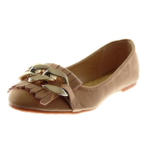 Angkorly Damen Schuhe Ballerina - Slip-On - Kette - Fransen - Golden Blockabsatz 1 cm Rosa