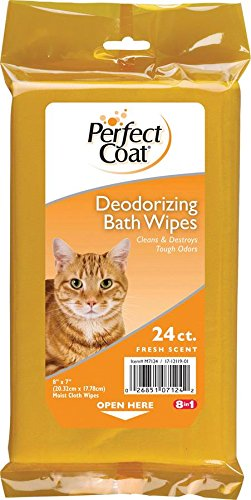 Perfect Coat Deodorizing Bath Wipes for Cats, 24-Count