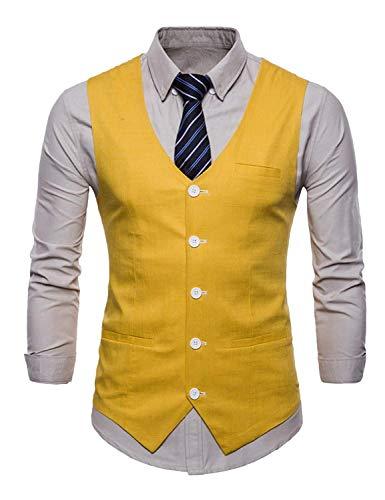 Tuxedo Tempo Vest Gilet Party Wedding Uomo Vintage libero Jacket regolabile Gelb Uomo Vestito 5O66Hqw