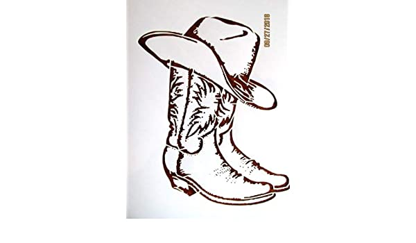 Cowboy Boot Template | Amazon Com Cowboy Boots And Hat Stencil Template Reusable 10 Mil Mylar