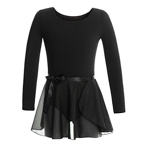 MAGIC TOWN Leotard Long Sleeve Wrap-Round Skirt Girls Dance Gymnastics Cotton Dress(6-8,Black)