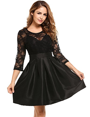 Zeagoo Womens Vintage 1950s Style 3/4 Sleeve Black Lace Flare A-line Dress at Amazon Womens Clothing store: