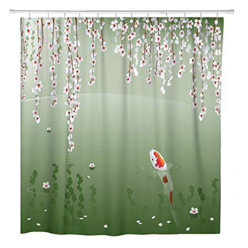 ArtSocket Shower Curtain Koi Carp in Spring Pond Sacred Japanese Fish Under Home Bathroom Decor Polyester Fabric Waterproof 72 x 72 Inches Set with -