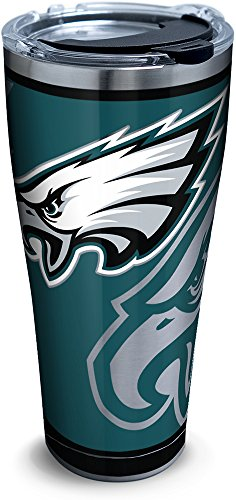 Tervis 1300006 Nfl Philadelphia Eagles Rush Stainless Steel Tumbler With Lid, 30 oz, Silver ()