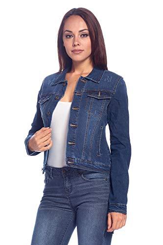 Blue Age Women's Distressed Denim Jean Jacket (JK4023,DK,XL)